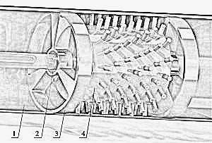 Fig. 6. AVS chamber with rotor: 1 – chamber; 2– bronze bushings (lubricated and cooled by the processed liquid); 3 – lid; 4 – rotor.